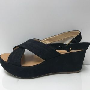 J. Crew Black Platform Heels Open Toe Women's 7.5